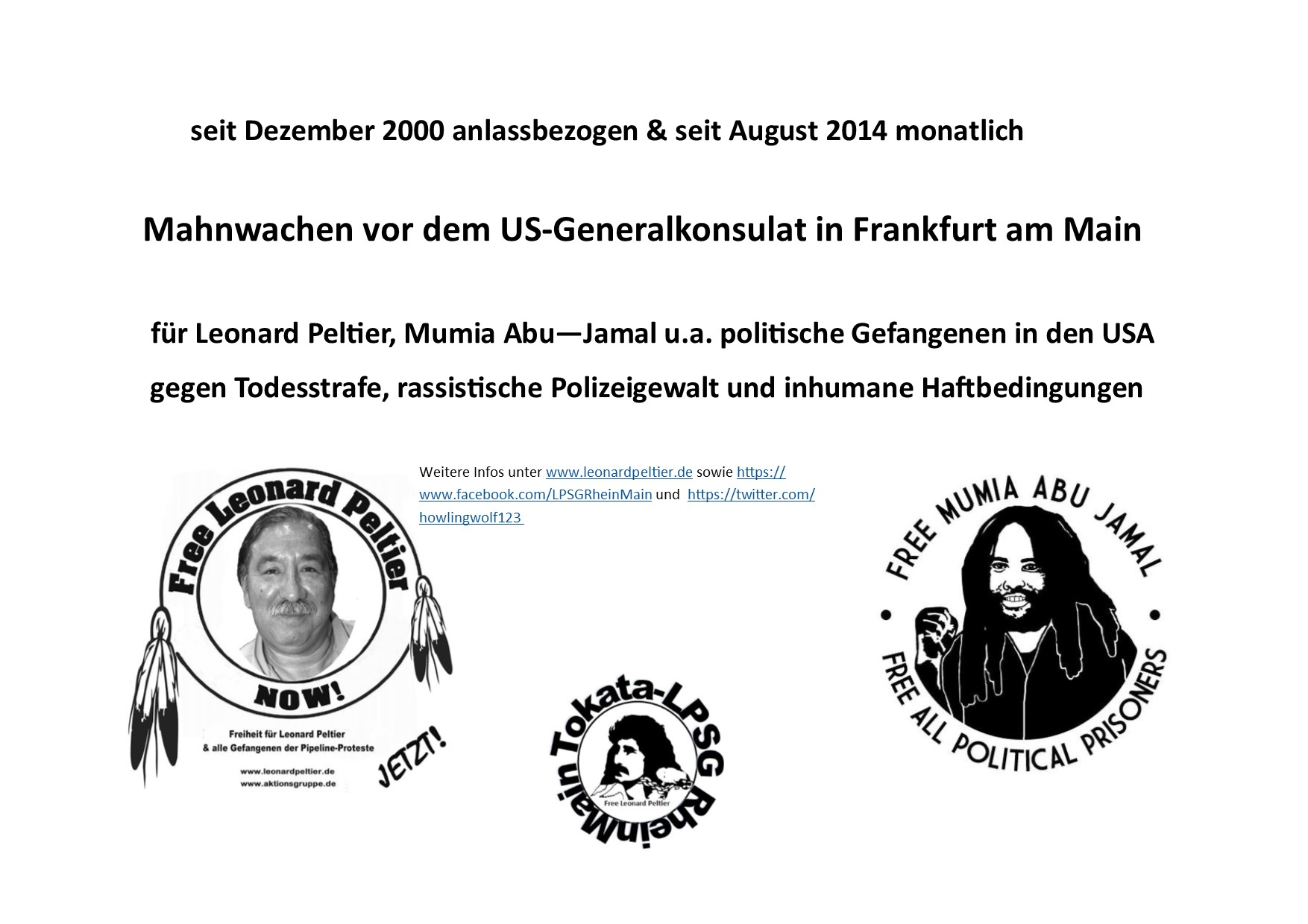 Mahnwache für Leonard Peltier, Mumia Abu-Jamal u.a. politische Langzeitgefangene in den USA in Frankfurt am Main