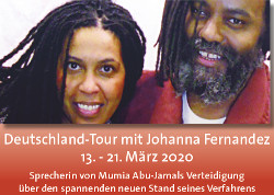 Inforeise von Mumia Abu-Jamal Anwältin Johanna Fernandez abgesagt/Infotour through Germany canceled